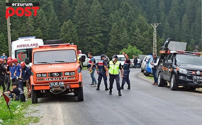 Erzurum'da otomobil şarampole uçtu: 1 ölü, 3 yaralı!